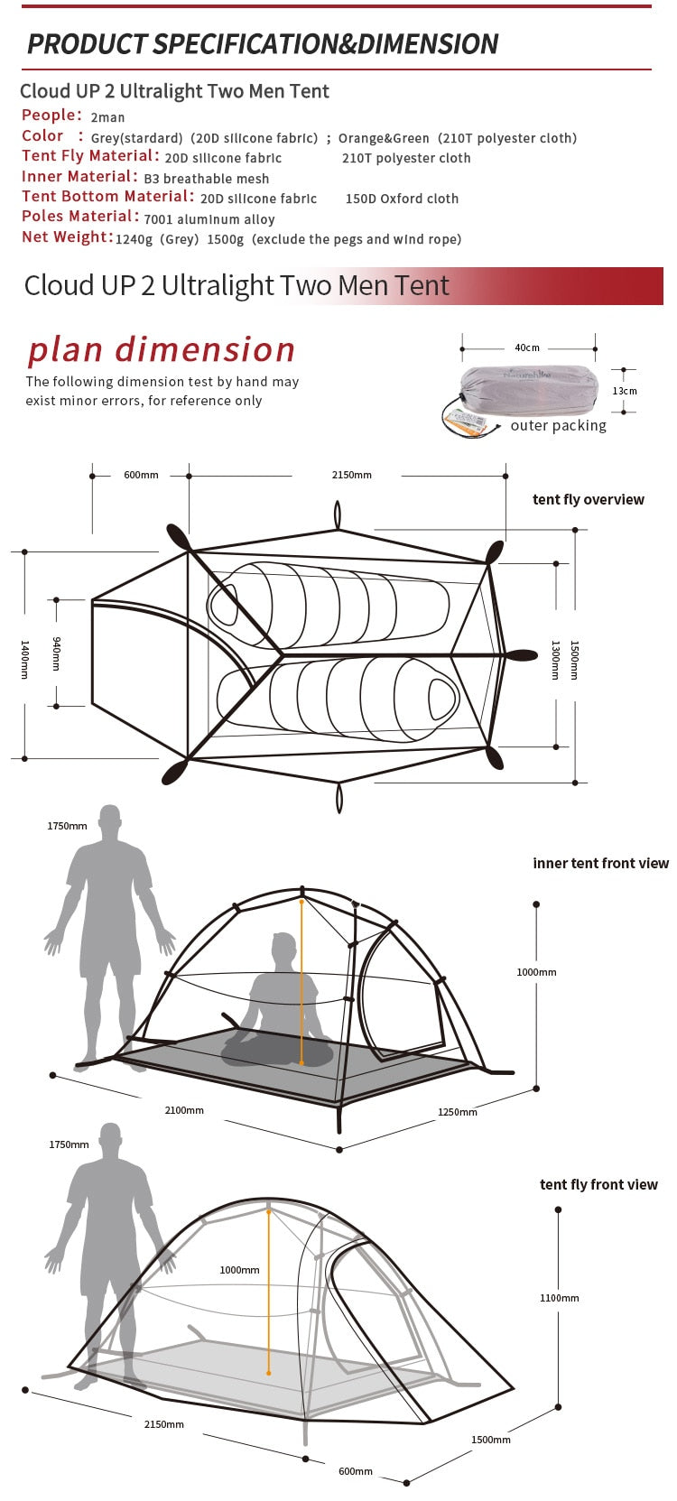 Diagram showing tent dimensions for 2 man option