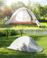 2 man Grey ultralight 3 season tent shown pitched in a field, split image shows zipped up and open