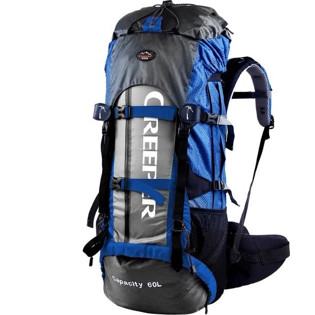 60 litre rucksack, shown in blue