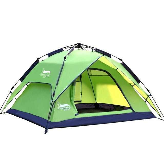 Green 3 season tent, unzipped with canopy