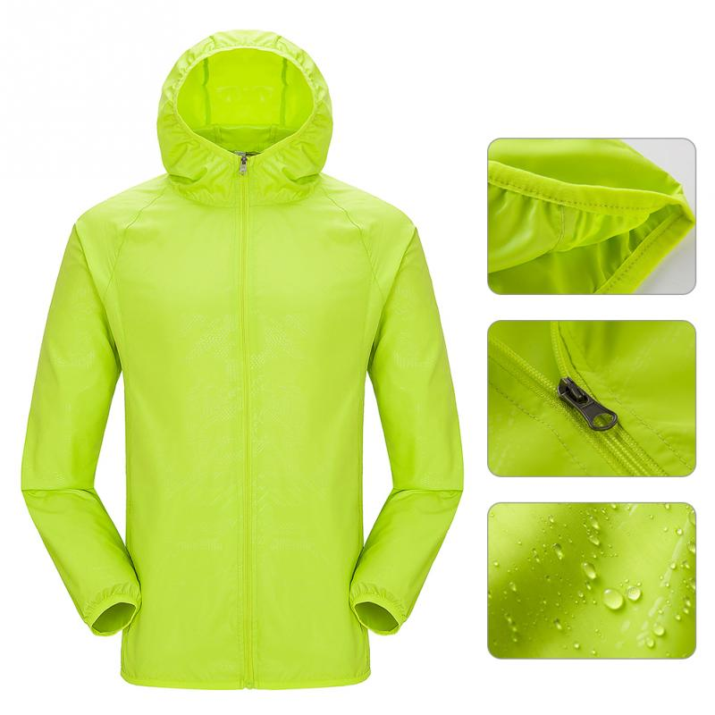 Hi vis lightweight waterproof jacket, shown with smaller key feature images; cuffs, zip and waterproof fabric