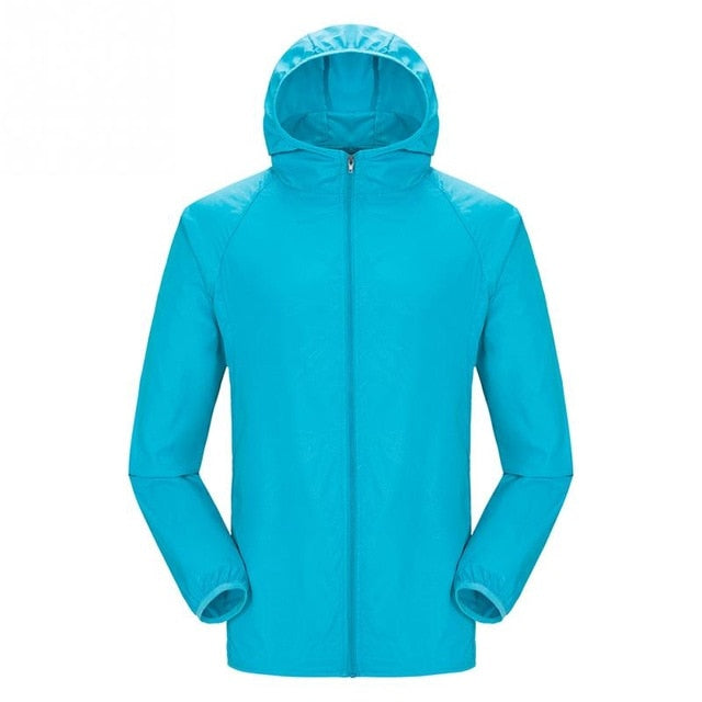Lightweight waterproof jacket in light blue