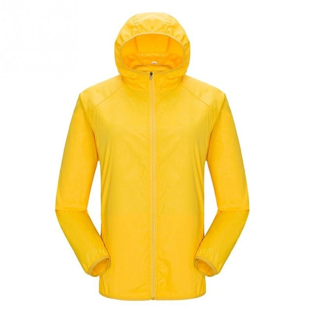 Lightweight waterproof jacket in yellow