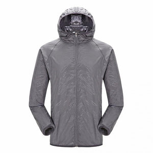 Lightweight waterproof jacket in grey