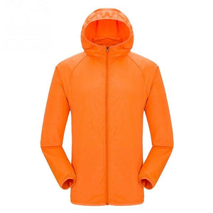 Lightweight waterproof jacket in orange