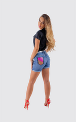 DENIM  SHORTS CUFFED WITH SEE THRU POCKET EMBROIDERED