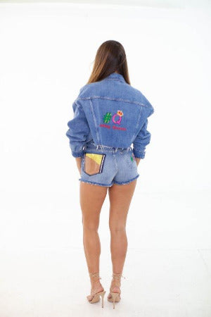 CROPPED DENIM JACKET EMBROIDERED