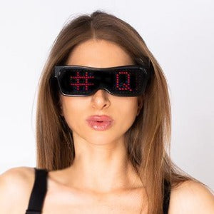 HASHTAG QUEENS LED TYPE SUN GLASSES WITH SCROLLING WORDS, SYMBOLS AND LETTERS