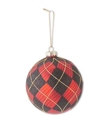"4.5"" Round Glass Red/Black and Gold Plaid Ornament"