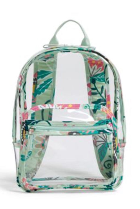 Clearly Colorful Stadium Backpack-Vera Bradley-Mint Flowers