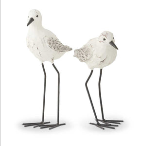 White and Gray Weathered Resin Seagull-Metal Legs