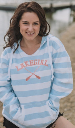 Lakeside Stripe Hoodie-Lakegirl-White/Surf