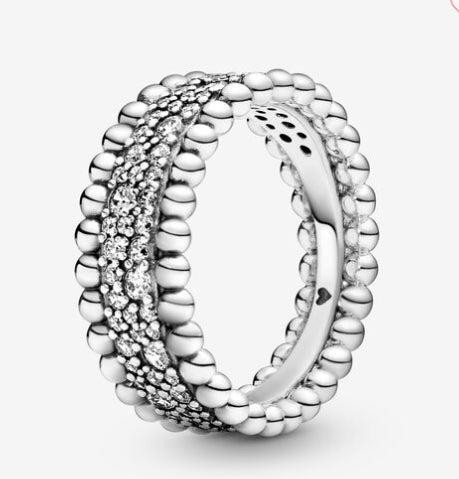 Beaded Pave Band Ring-Pandora