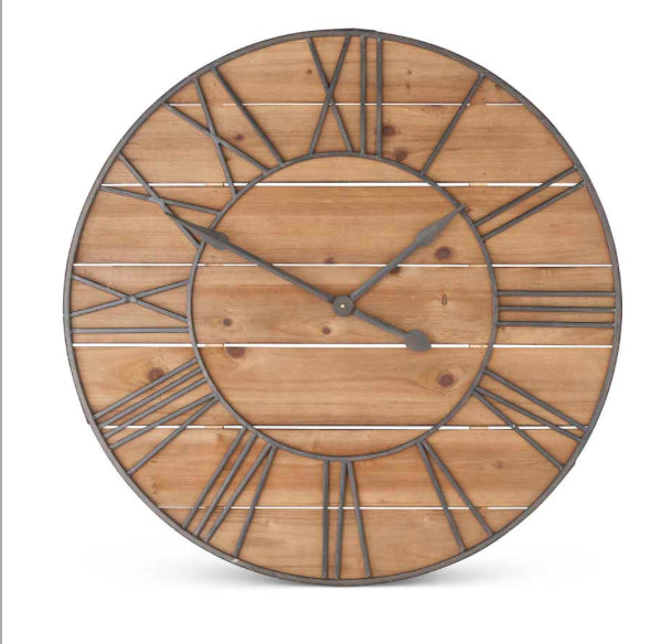 "35.5"" Round Wooden Clock with Metal Roman Numerals"