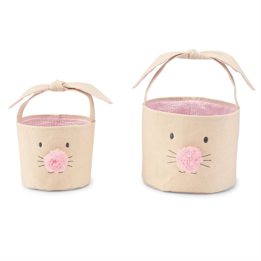 PINK BUNNY FACE EASTER BASKET (2 SIZES)