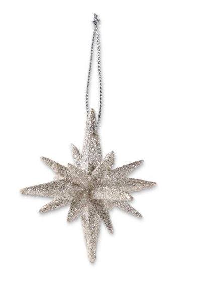 9 Point Silver Glittered Star Ornament