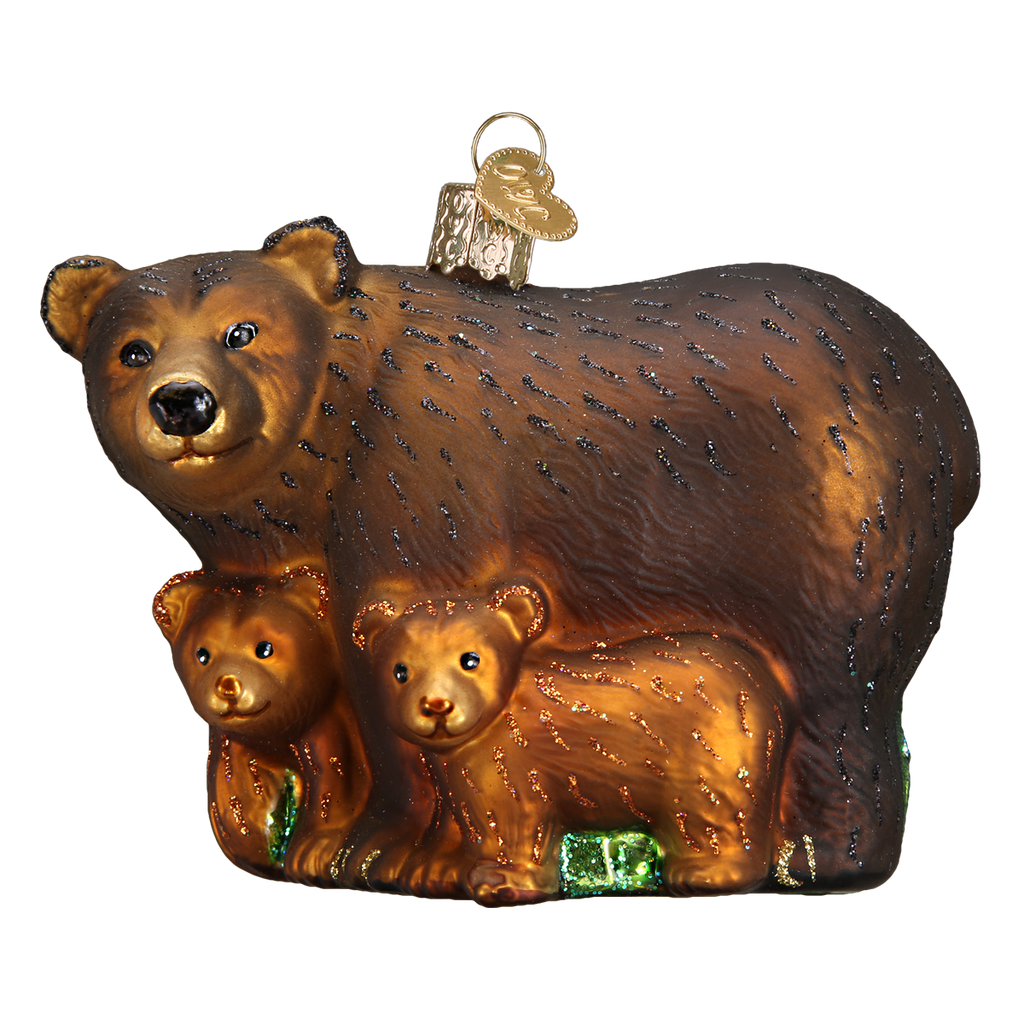 Bear With Cubs Ornament Old World Christmas Red Barn