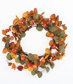 "4.5"" FALL LEAF AND BERRY CANDLE RING-R4-3002"