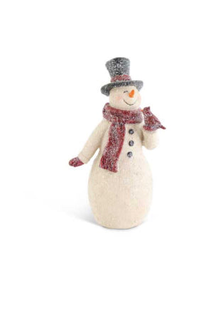 Glittered Resin Vintage Snowman with Cardinal-2 Sizes Sold Separately