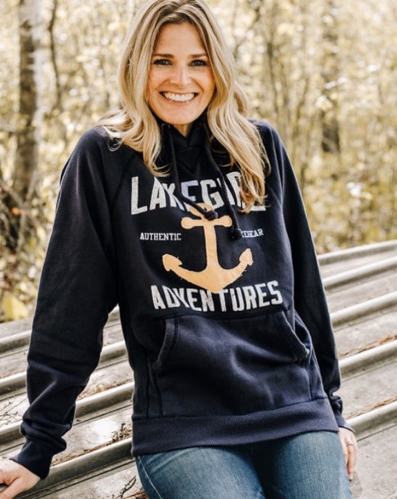 Sanded Fleece Hooded Sweatshirt-Navy-Lakegirl