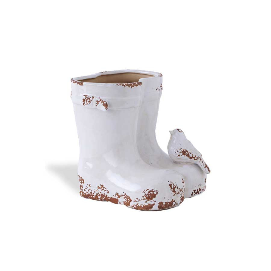 White Ceramic Weathered Double Boot Planter 7 5 Red Barn