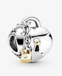 Two-Tone Heart and Lock Charm-Pandora