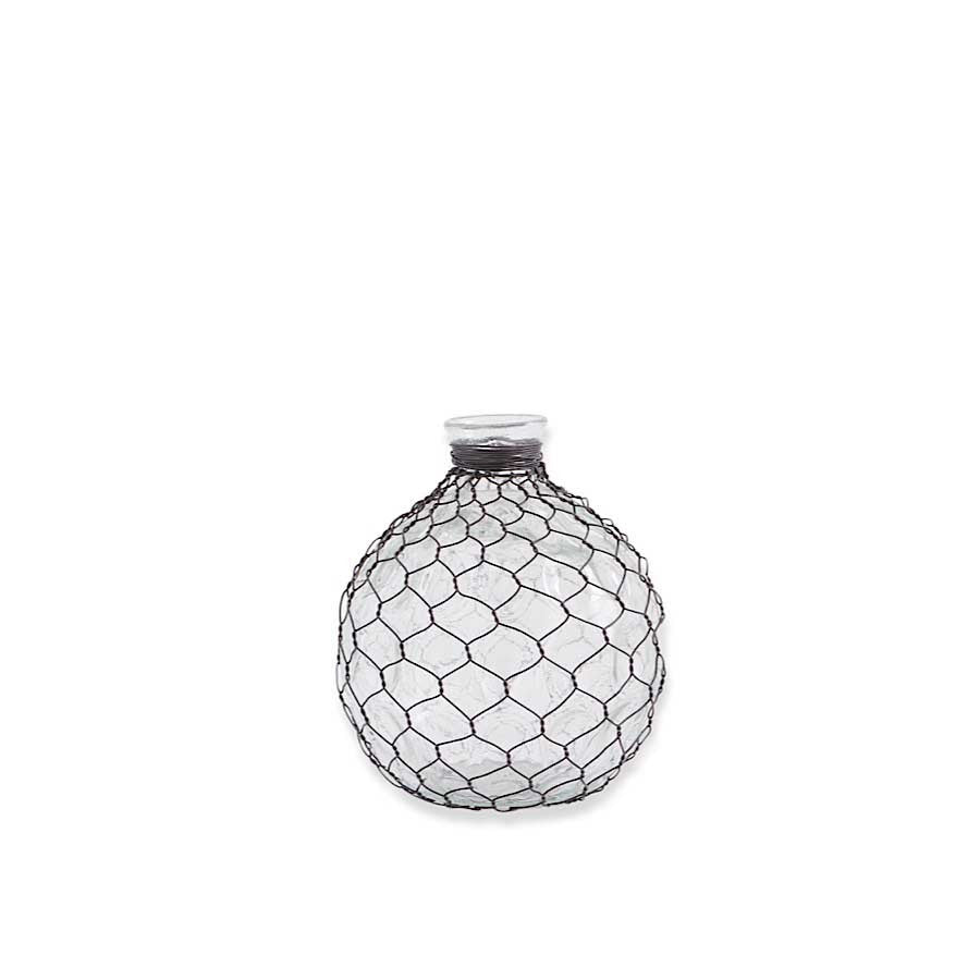 "Round Glass Bottle w/Wire Mesh Chicken Wire - 6"" Round"