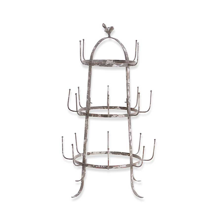 "Metal Cup Holder w/16 Hooks & Bird on Top - 28.5""H"