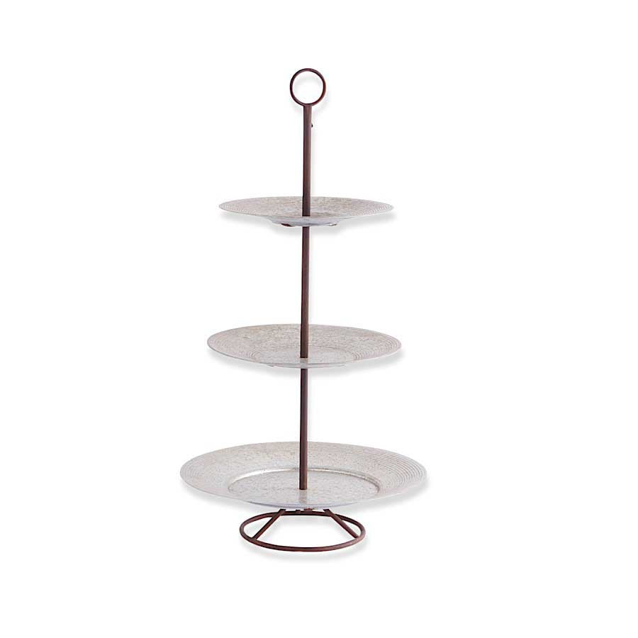 "3-Tiered Round Metal Disk Platter w/Holder - 37""H"