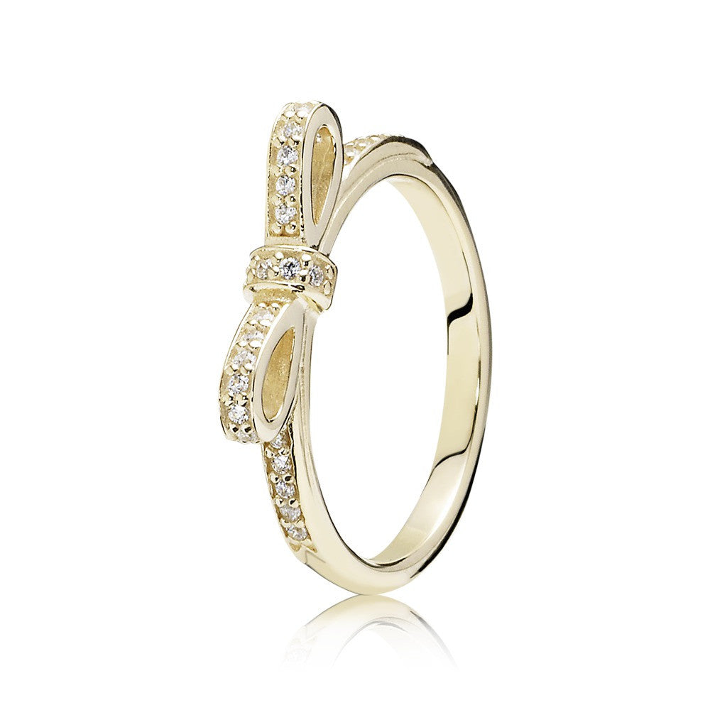Sparkling Bow Ring - 14K Gold with Clear CZ - PANDORA - 150175CZ