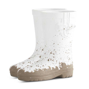 White Resin Rain Boot Pot (2 Sizes Sold Separately)