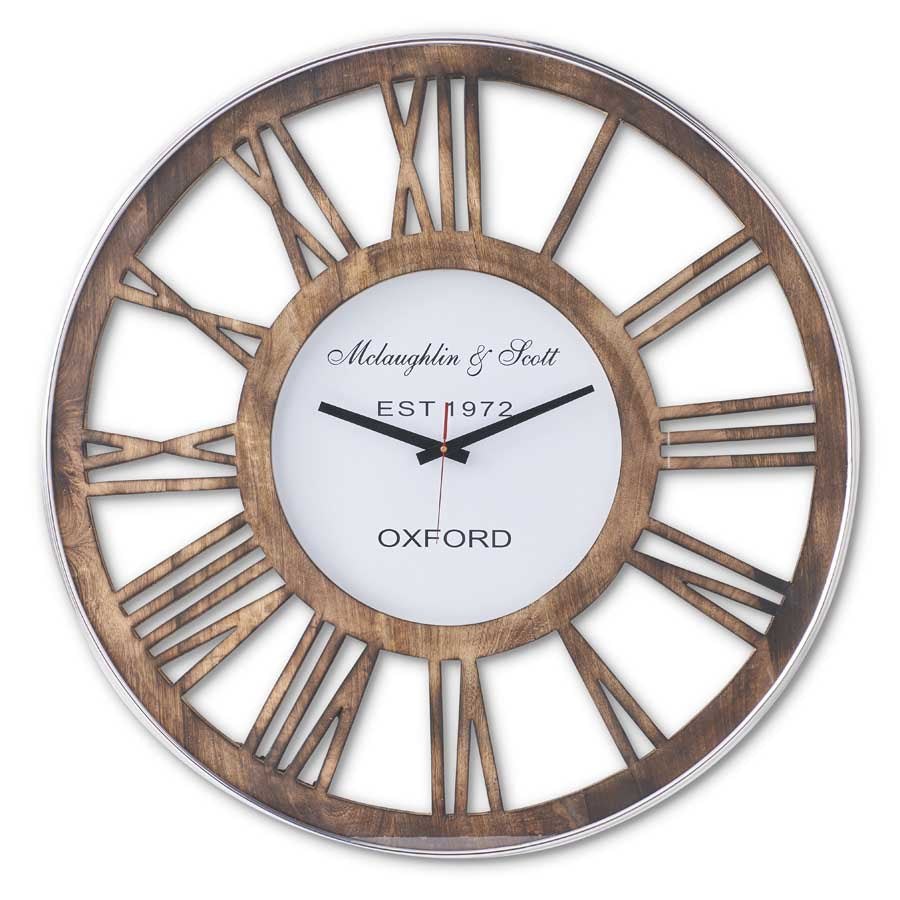 "30"" Modern Wood and Metal Round Wall Clock"