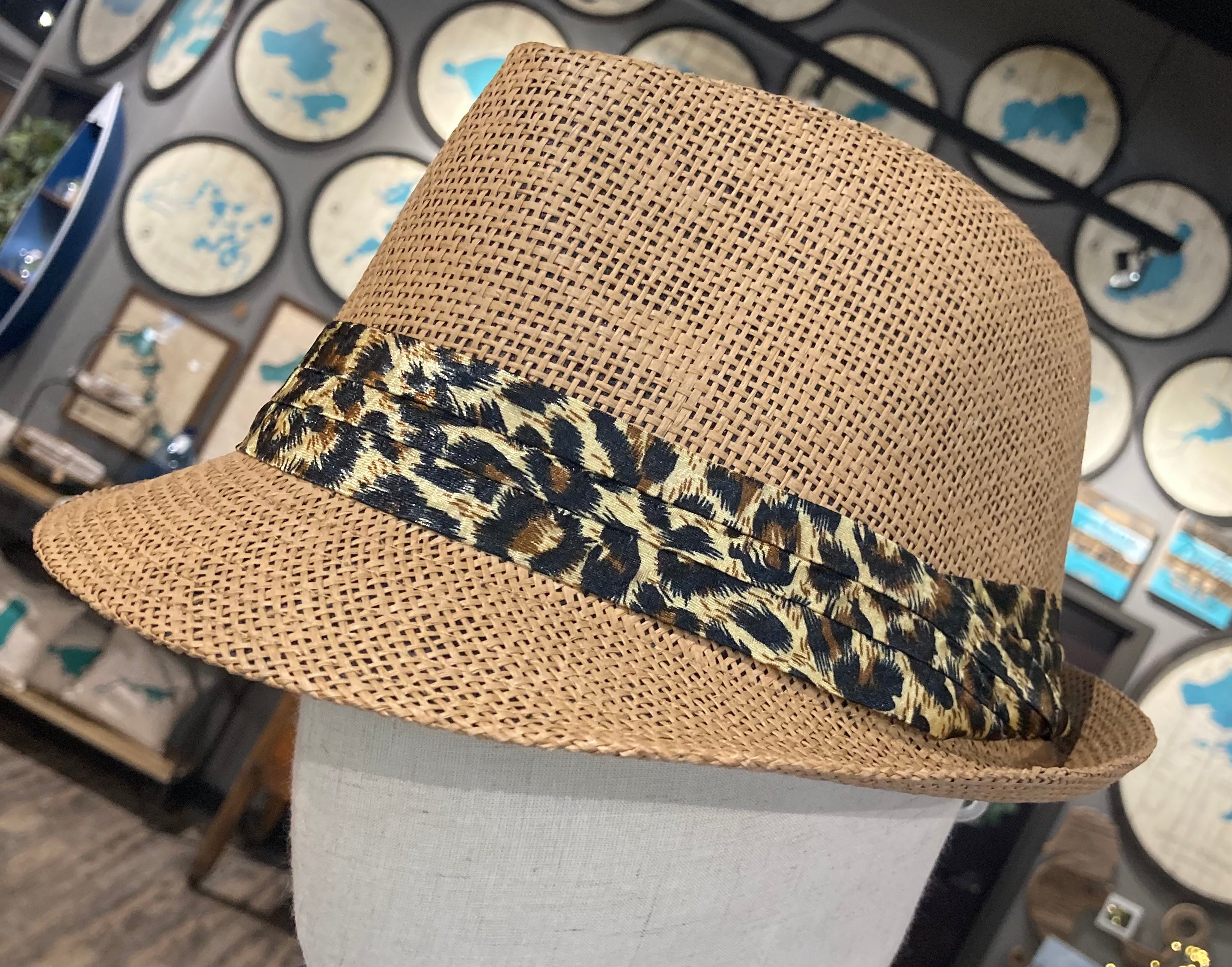 Fedora-Beige with leopard