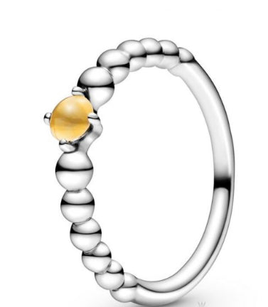 Honey Beaded -November Birthstone Ring-Pandora