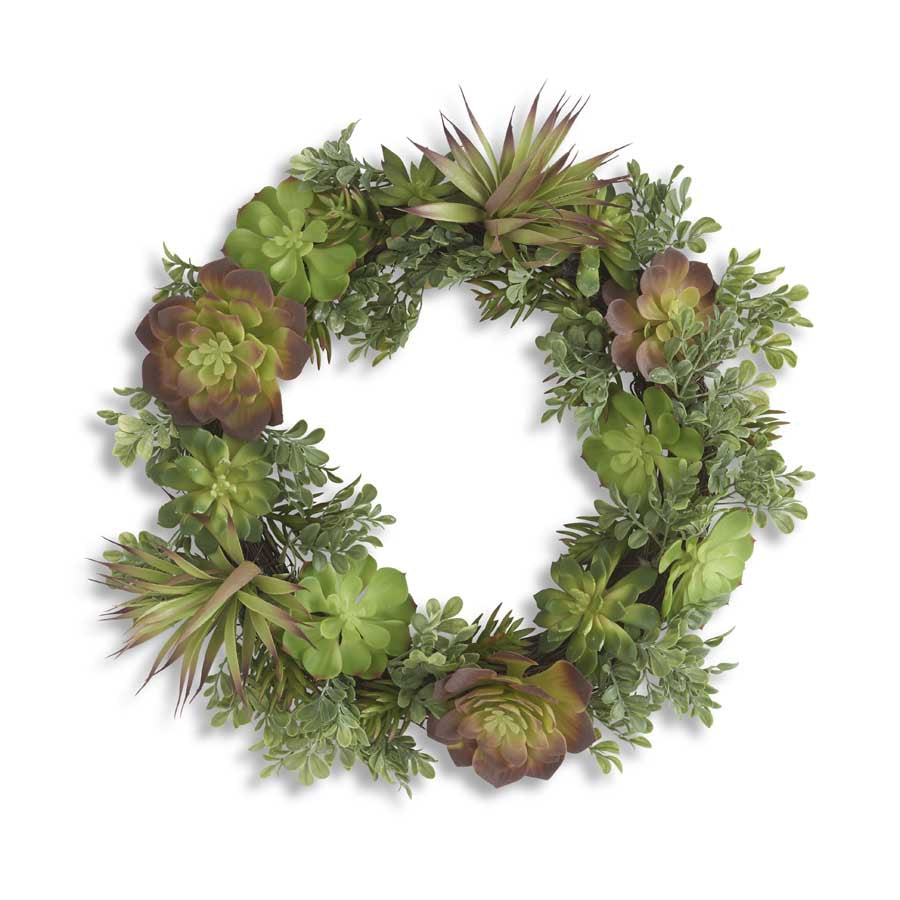 "Mixed Succulent Wreath-20""D"