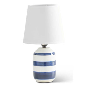 14.75 Inch White and Navy Blue Stripe Lamp w/White Shade