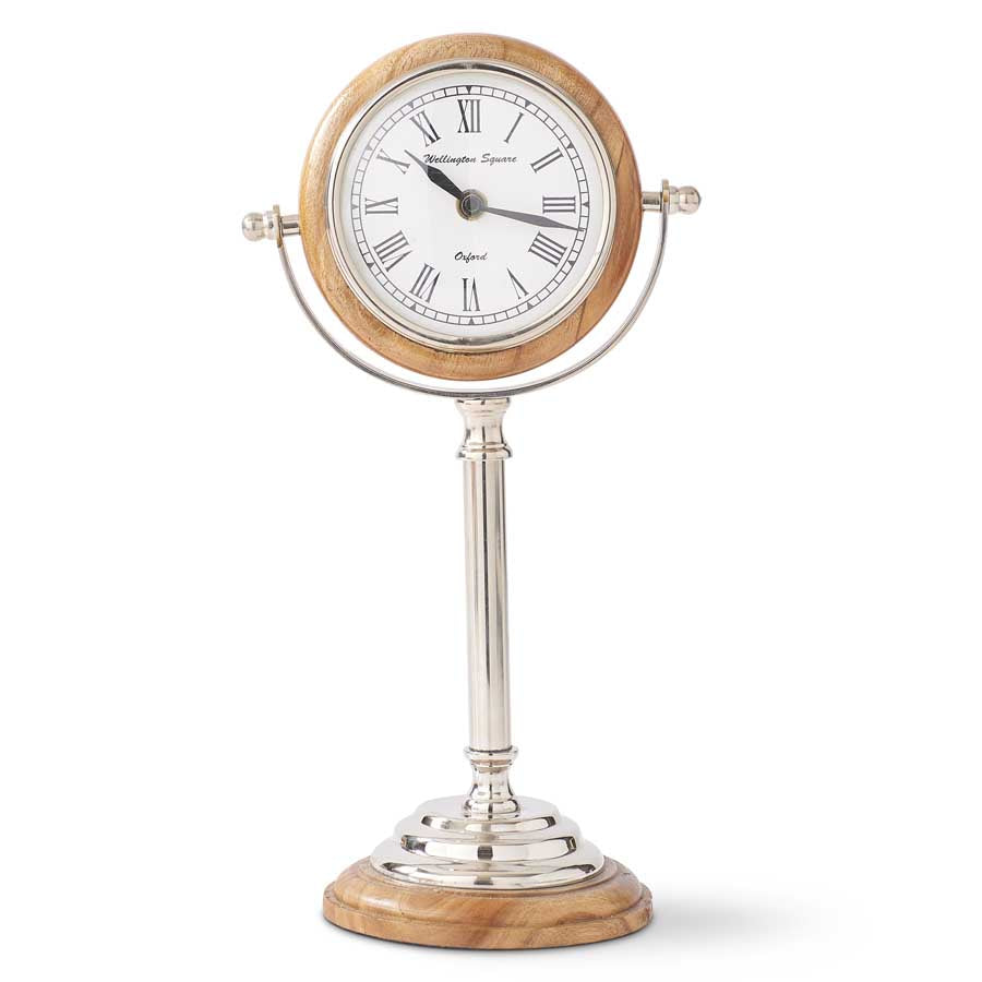 Wood & Silver Round Tabletop Clock on Pedestal