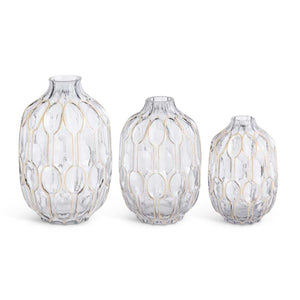 Oval Smoked Glass Bottle Neck Vases (3 Sizes sold Seperatley)