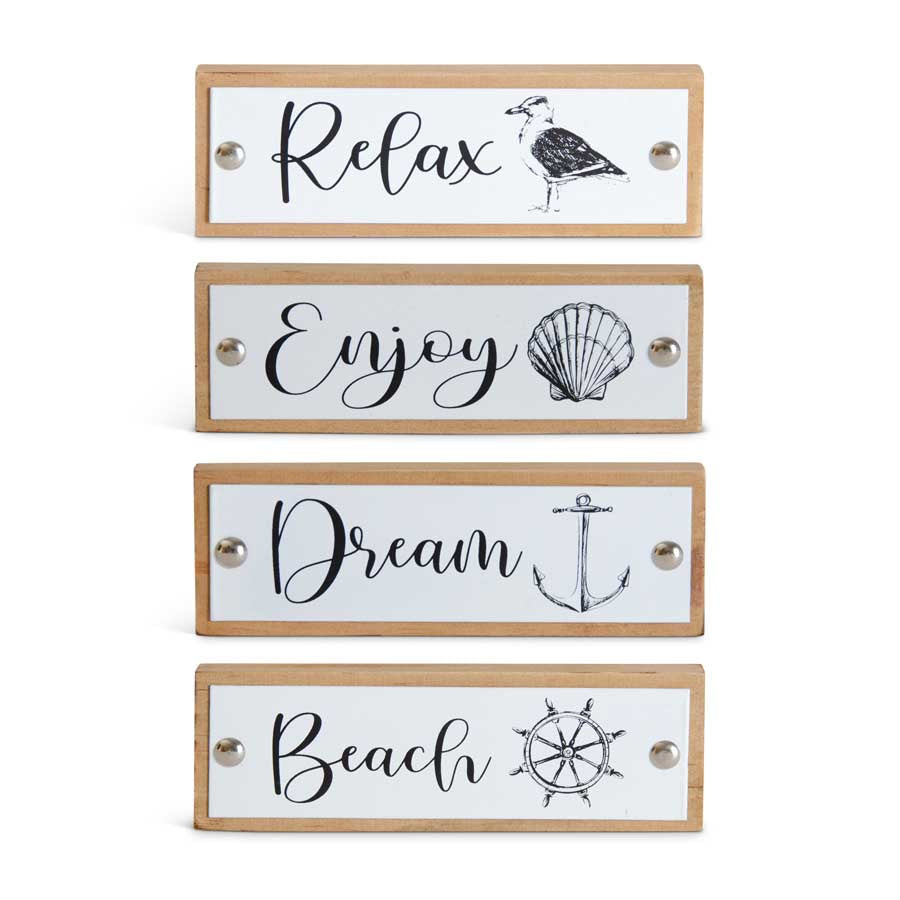 Nautical Enamel & Wood Coastal Tabletop Signs(4 Styles to choose from)