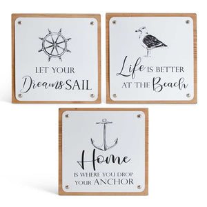 Enamel and Wood Coastal Table Top Signs - 3 Styles Sold Separately