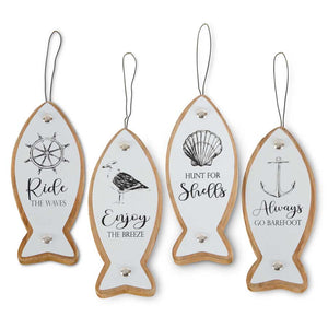 Enamel and Wood Coastal Fish Ornaments (4 styles to choose from)