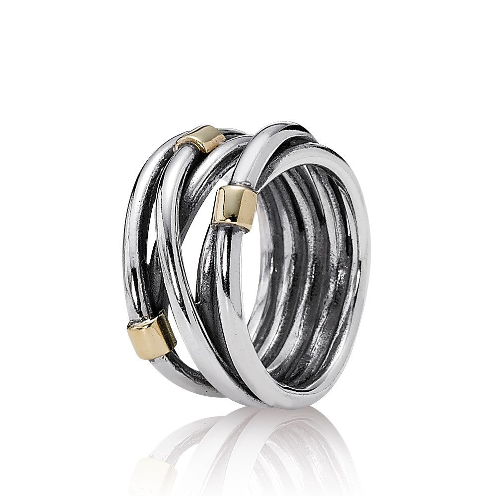 Silver Rope Ring - Sterling Silver with 14K Gold - PANDORA - 190383