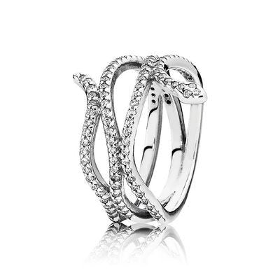 61fbdf0e5 Swirling Snake Ring - Sterling Silver with Clear CZ - PANDORA - 190954CZ