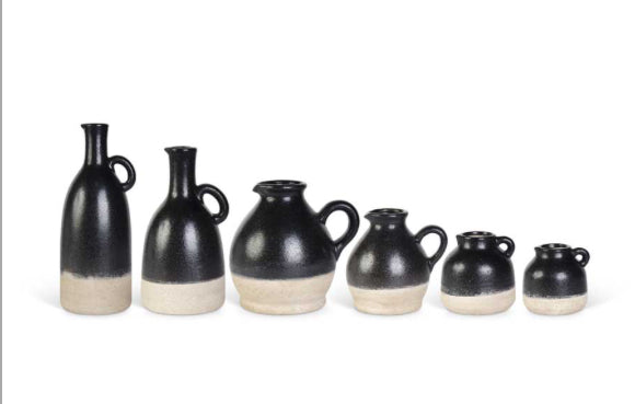 Black Ceramic Pitchers and Jugs(6 Sizes Sold Separately)