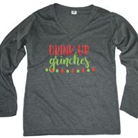 Drink Up Grinches Long Sleeve V-Neck Tee