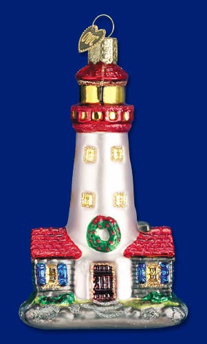 Red and White Lighthouse Ornament - Old World Christmas