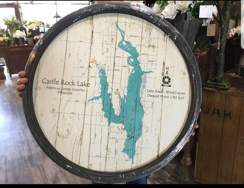 "Castle Rock Lake - Barrel End Lake Art - 23"" Round"