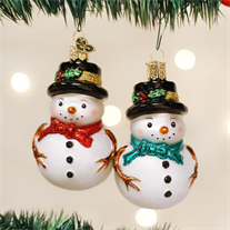 Holly Hat Snowman Ornament - Old World Christmas