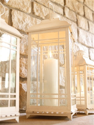 "White Lantern 20""H (Large) Metal and Glass"