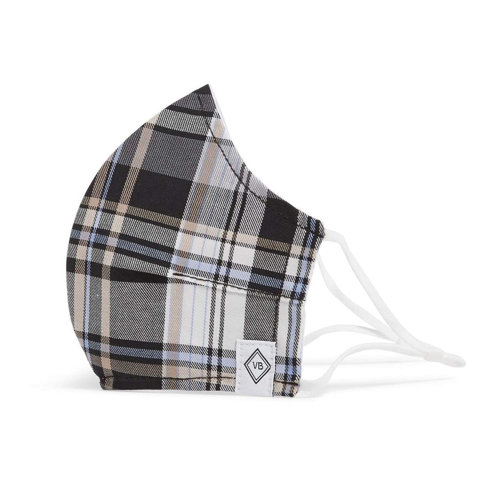 Fitted Face Mask with Adjusters-Cozy Plaid Neutral